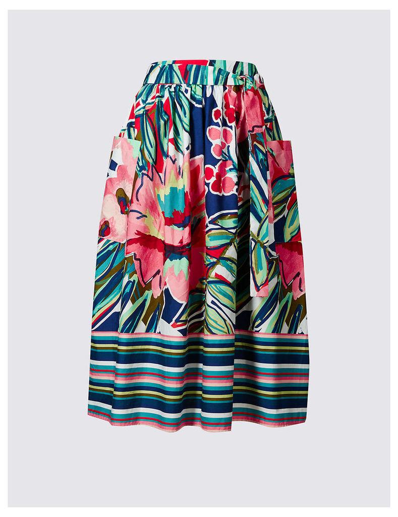 M&S Collection Pure Cotton Poplin Print A-Line Midi Skirt