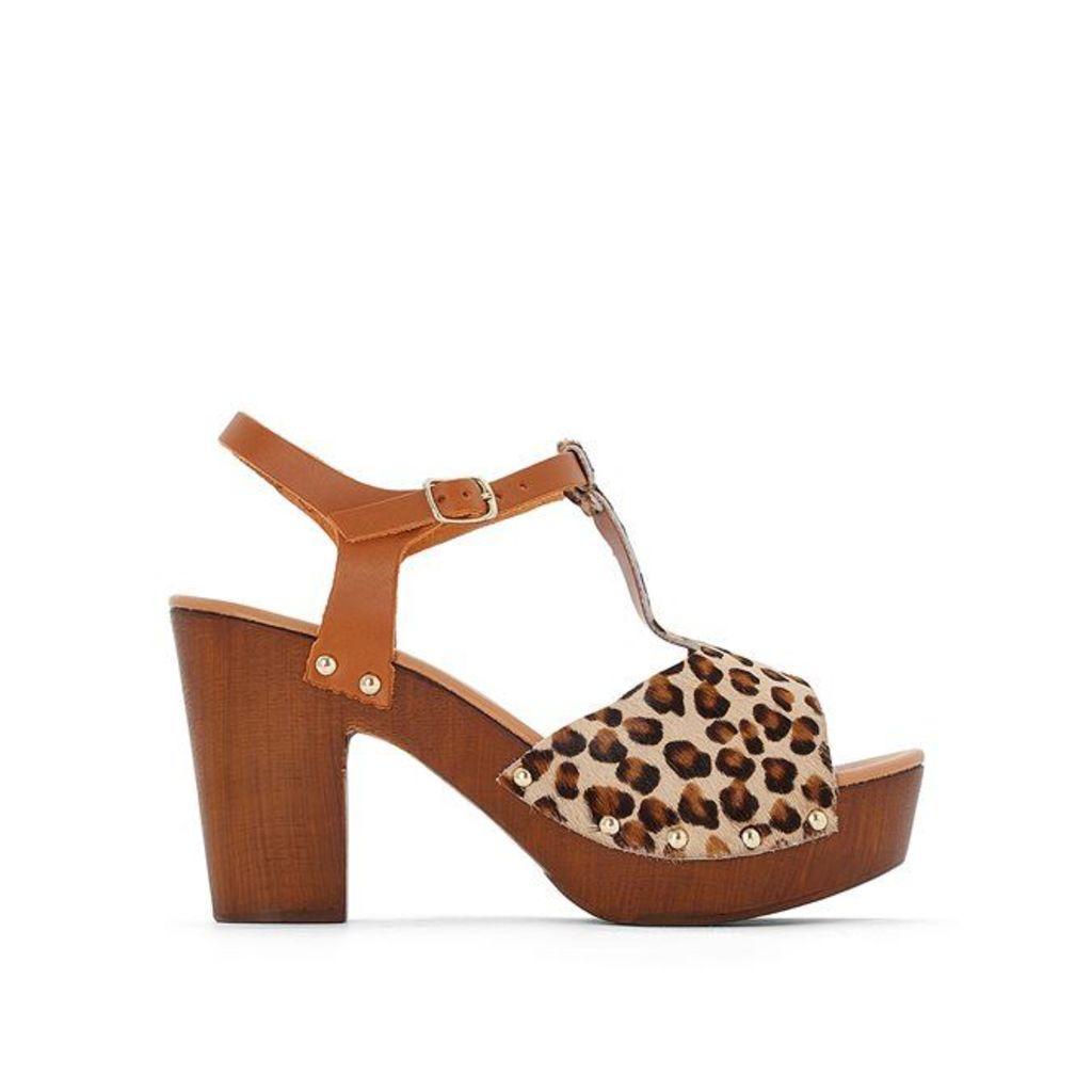 Leopard Print Leather Platform Sandals