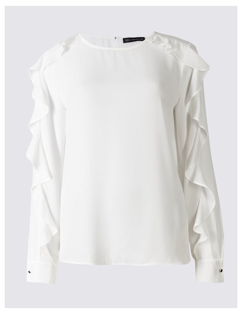 M&S Collection Ruffle Split Sleeve Round Neck Blouse