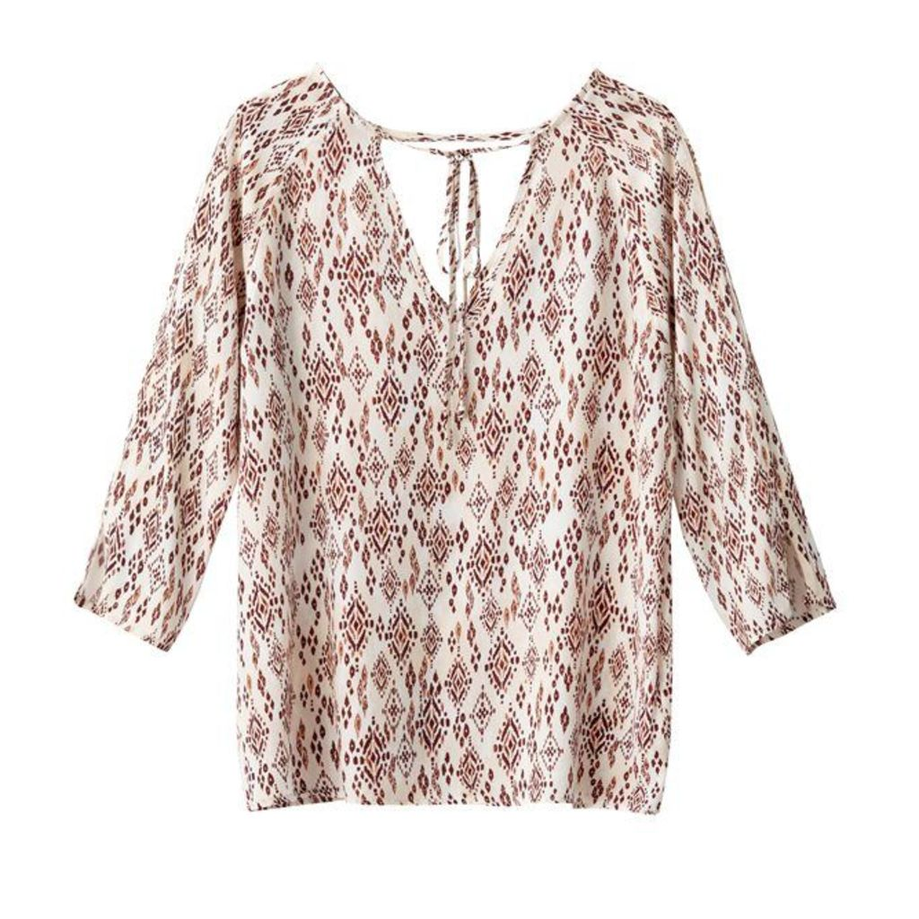 Printed Blouse with Low Back
