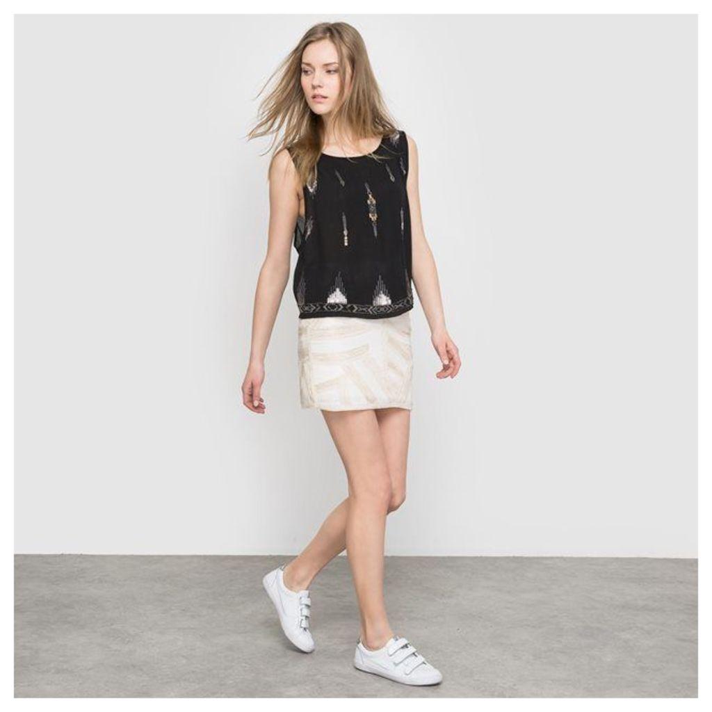 Beaded, Sequined Mini Skirt