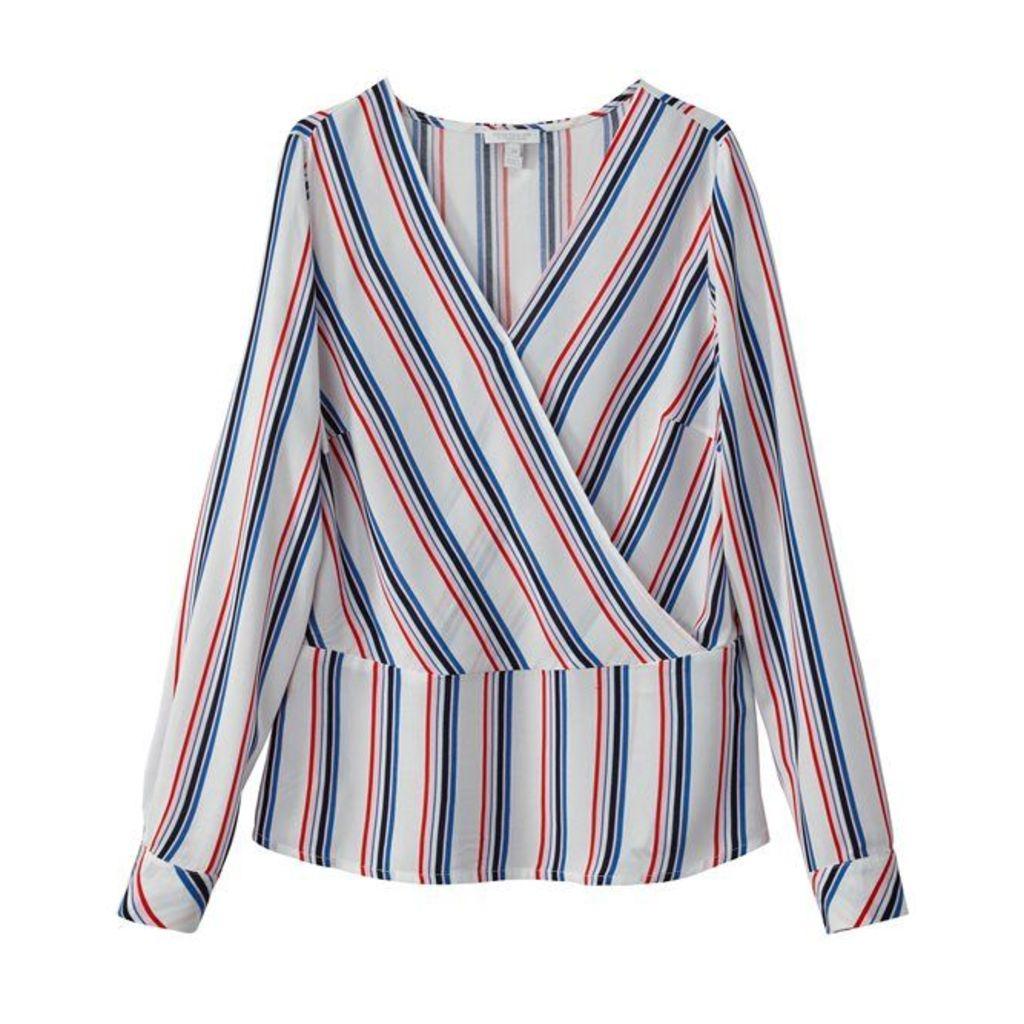 Long-Sleeved Striped V-Neck Blouse