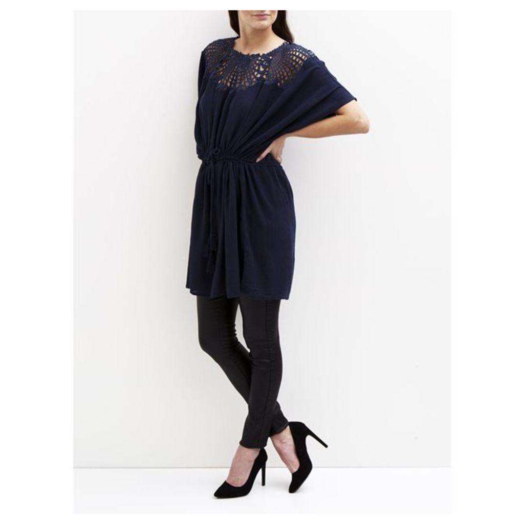 VIBODOIR TUNIC Short-Sleeved Embroidered Dress