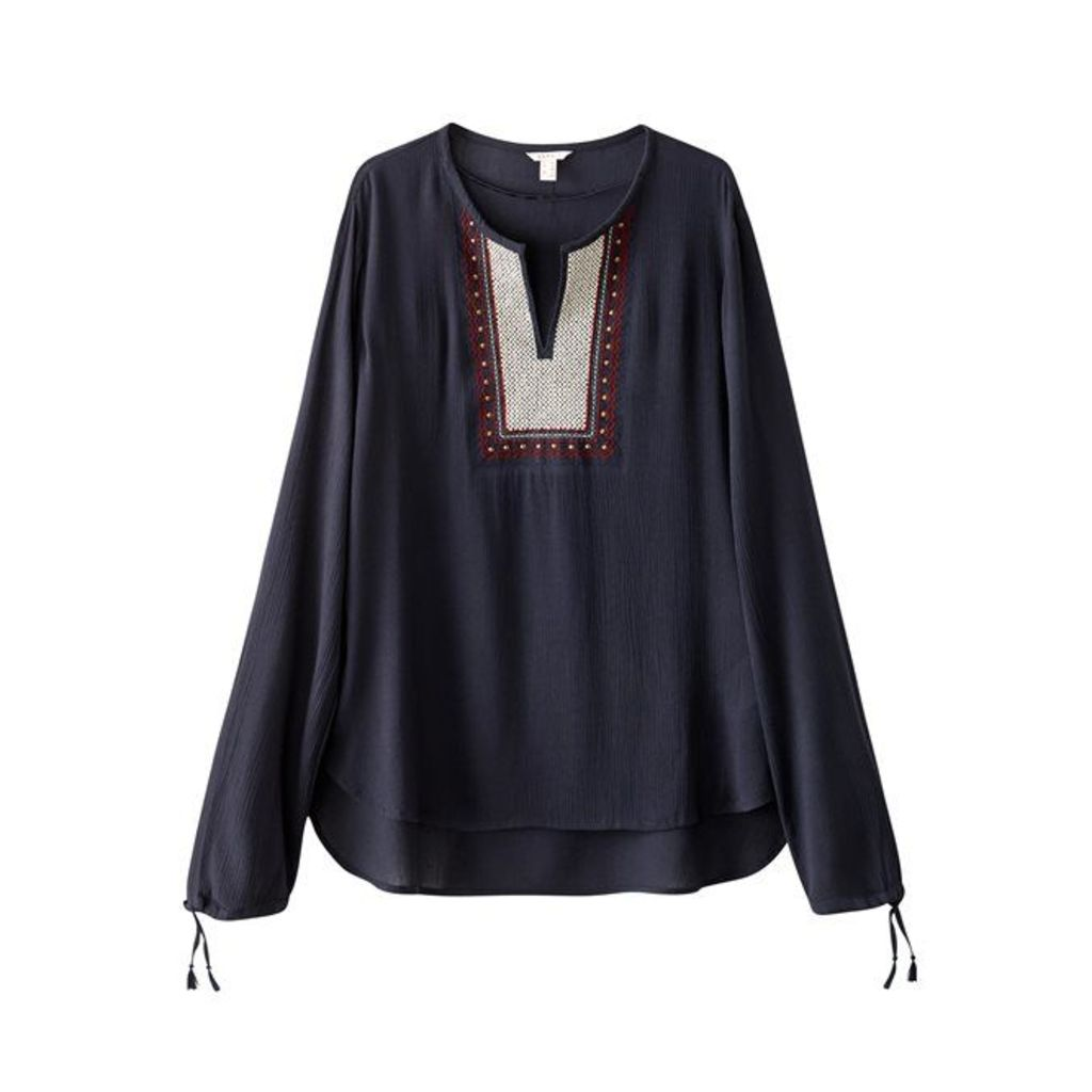 Embroidered Long-Sleeved Blouse