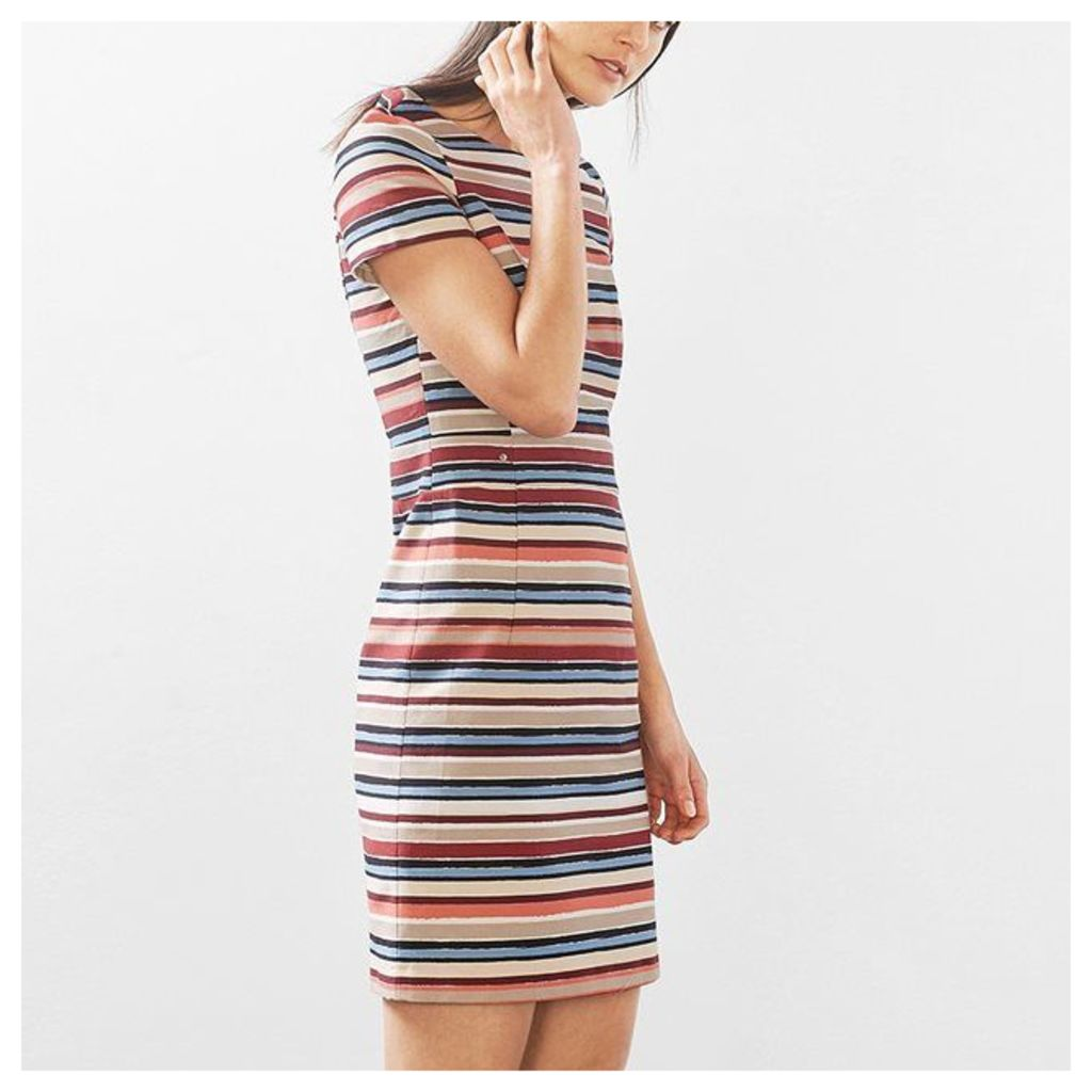 Dress with Multi-Coloured Stipes and Fitted Cut