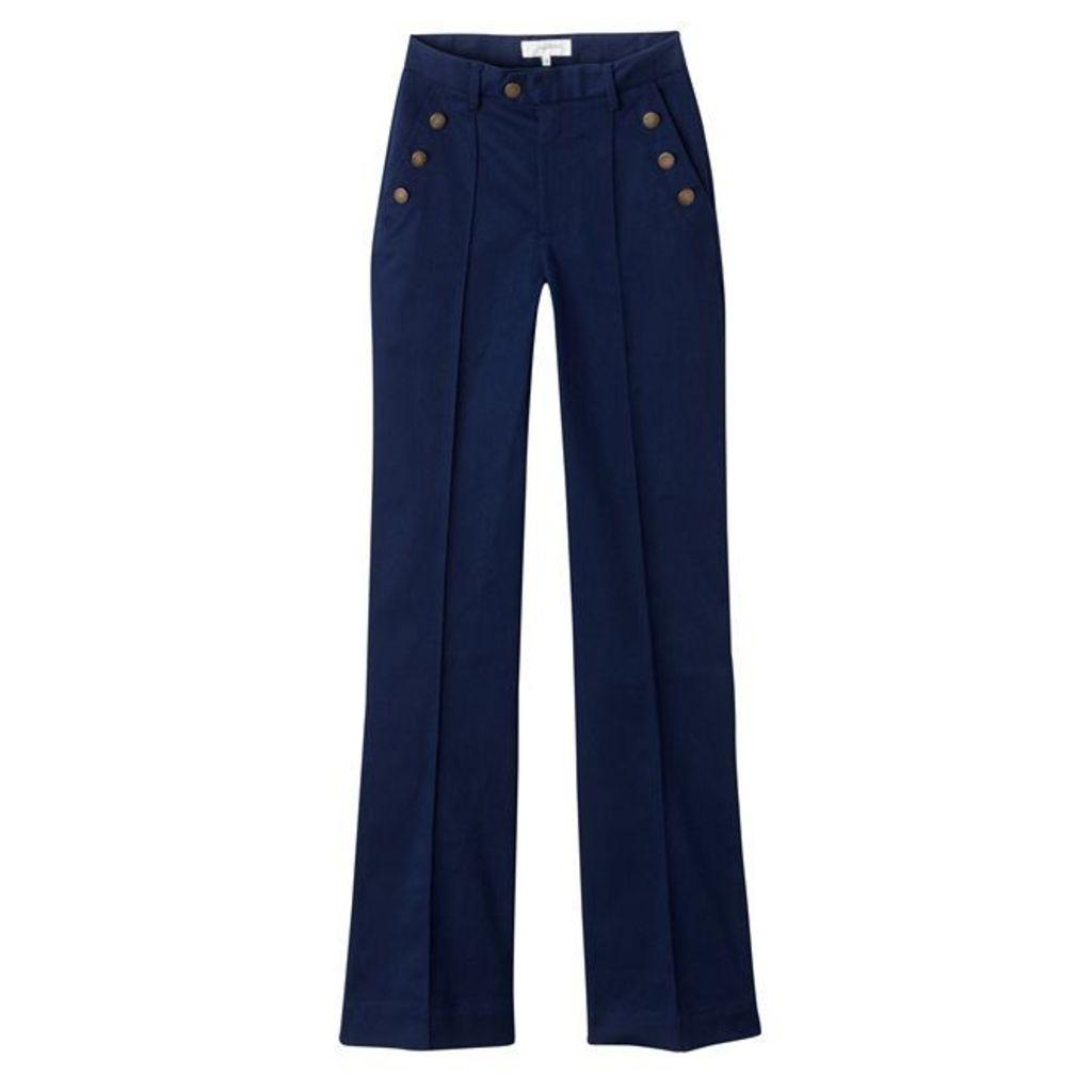 Plain, Basic Loose-Fit, Wide Leg Trousers