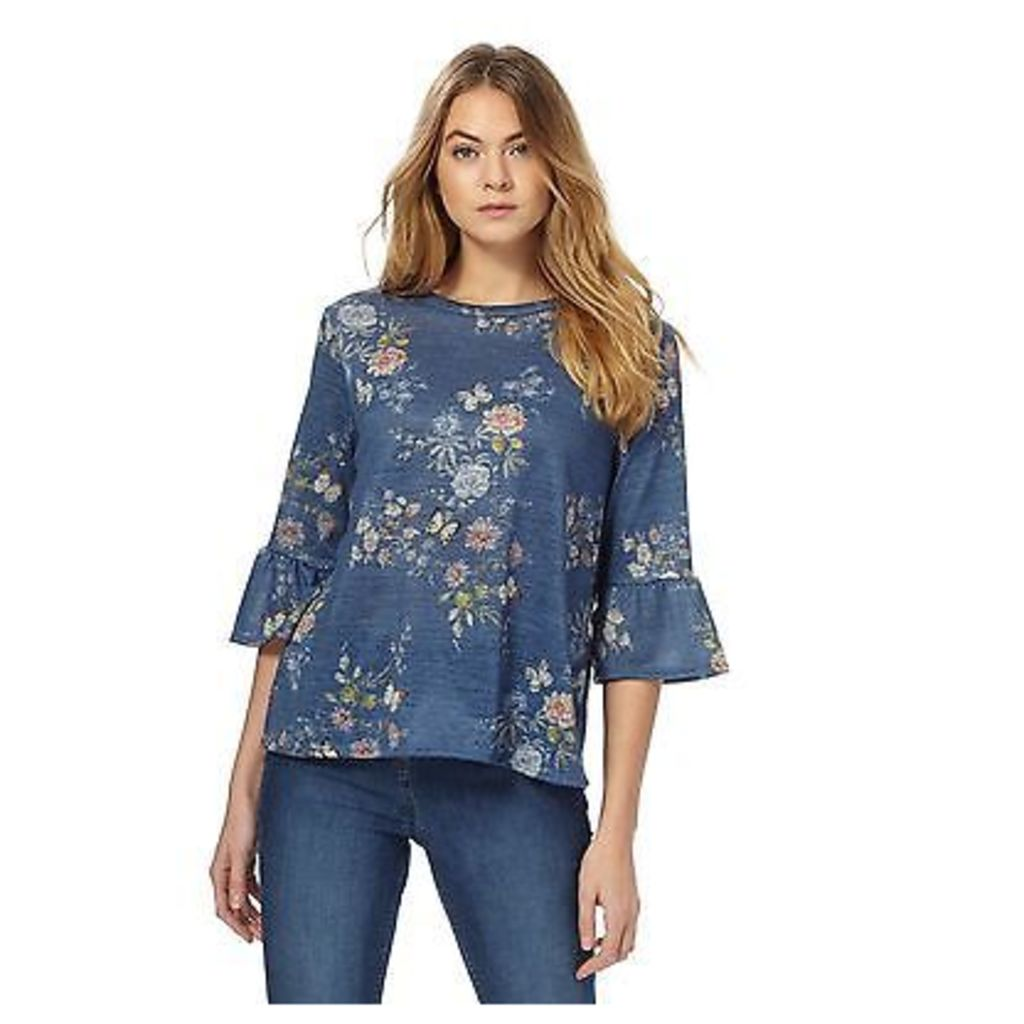 The Collection Womens Blue Floral Top From Debenhams