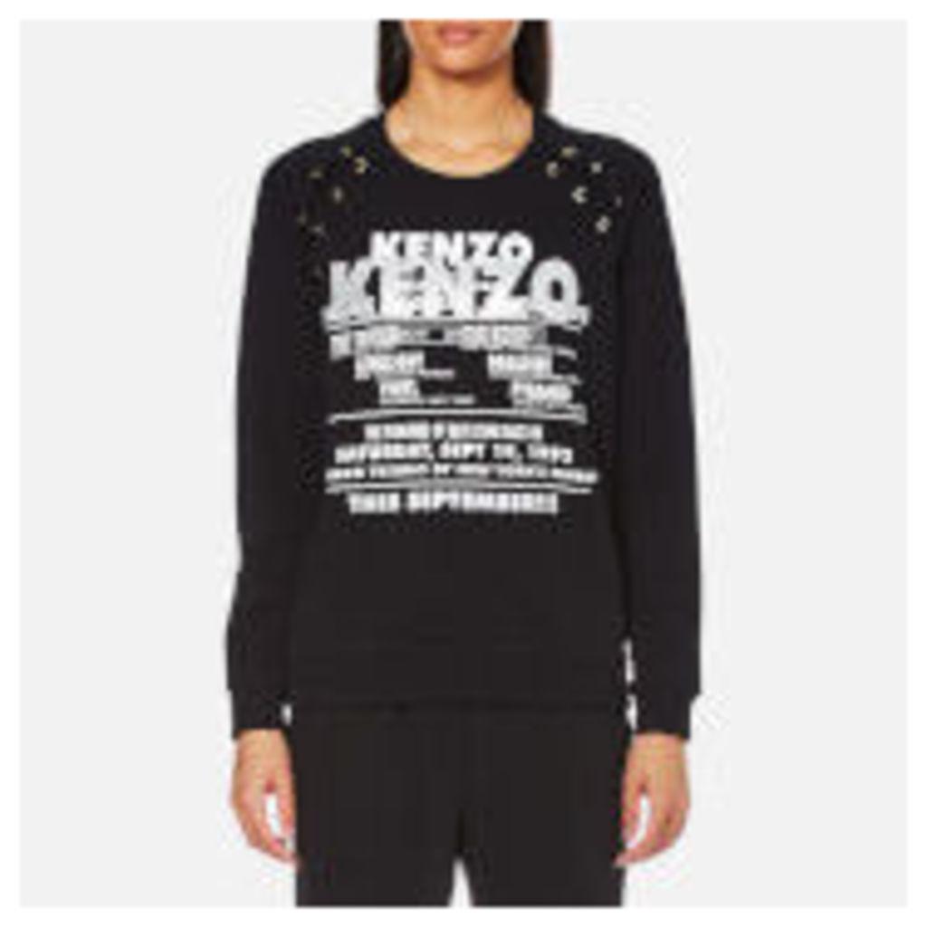 KENZO Women's Light Brushed Molleton Lace Tie Glitter Sweatshirt - Black