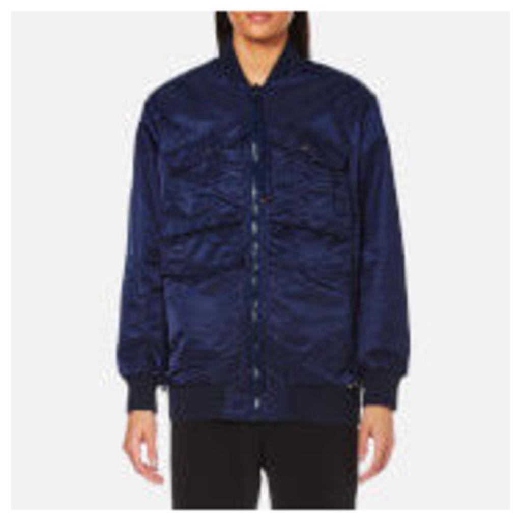 KENZO Women's Nylon Longline Bomber Jacket with Logo - Midnight Blue