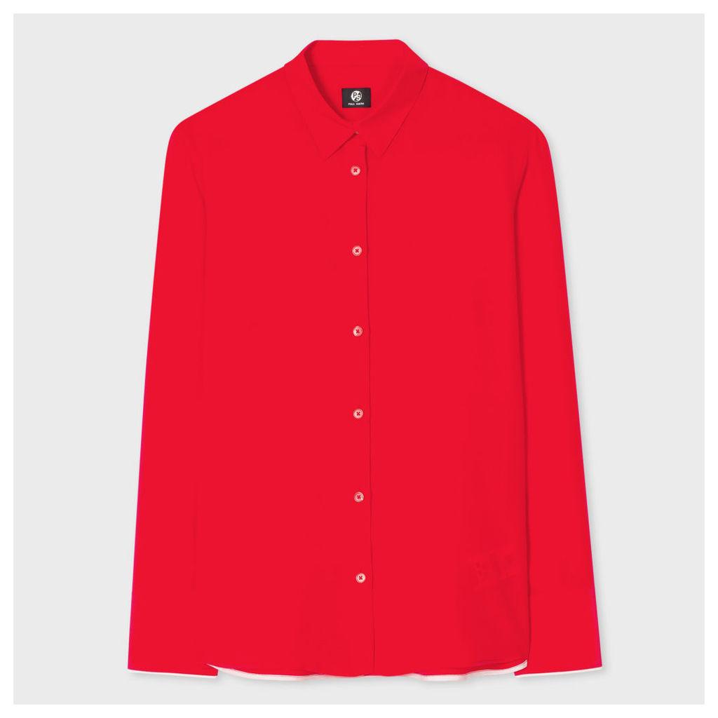 Women's Bright Red Silk Shirt