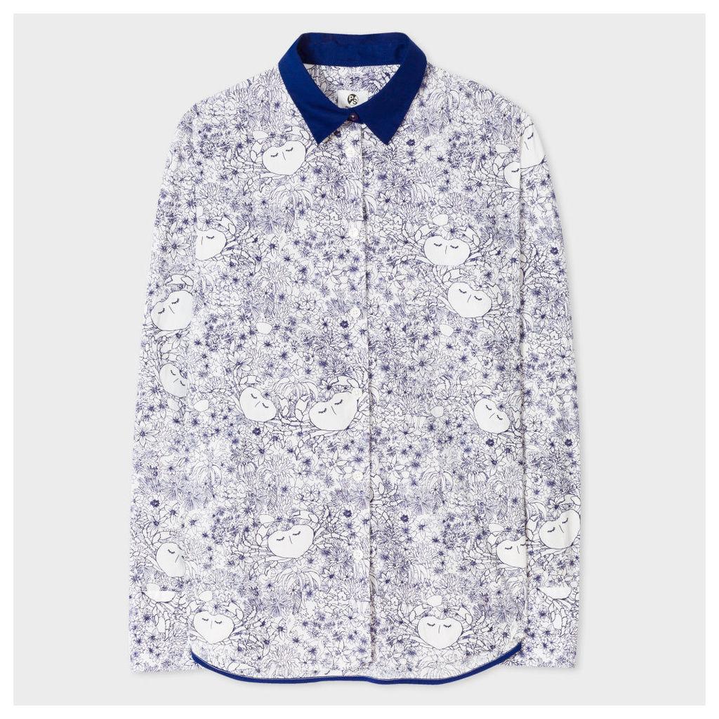 Women's White 'Creature Floral' Print Cotton Shirt