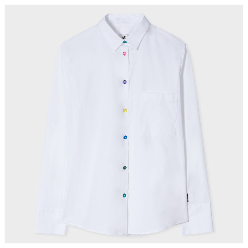 Women's White Stretch-Cotton Shirt With Multi-Colour Buttons