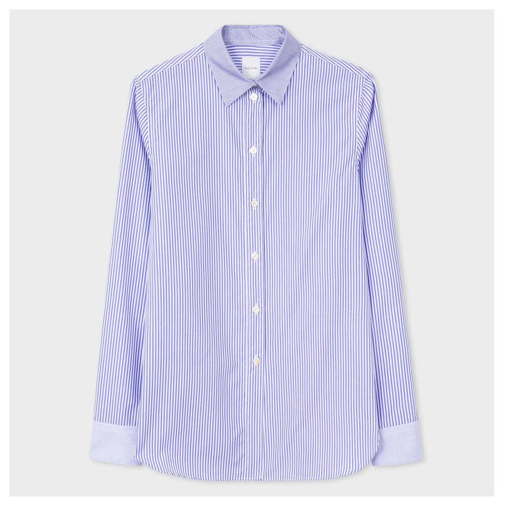 Women's White And Blue Mixed-Stripe Cotton Shirt