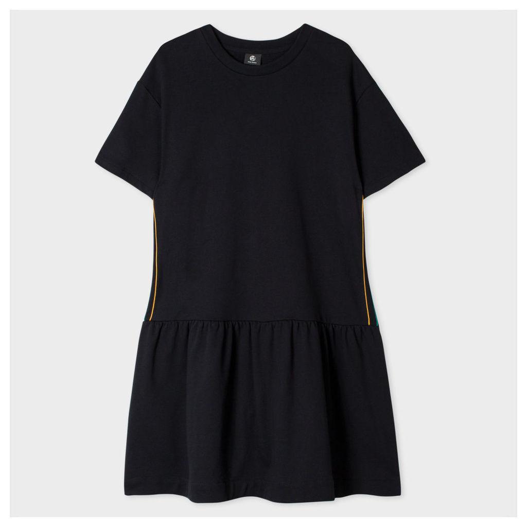 Women's Black Sweatshirt-Dress With Side Stripes