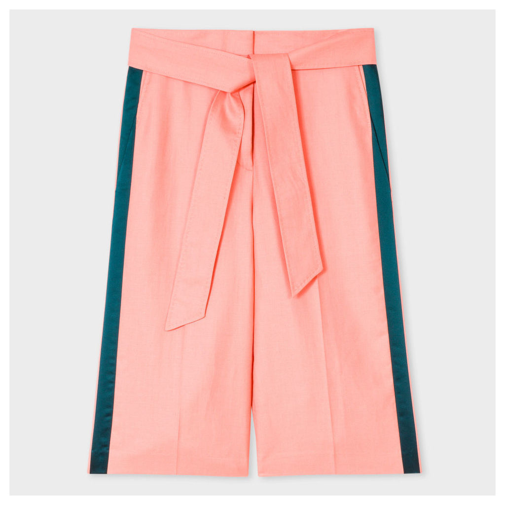 Women's Pink Wool-Linen Shorts With Silk Stripes