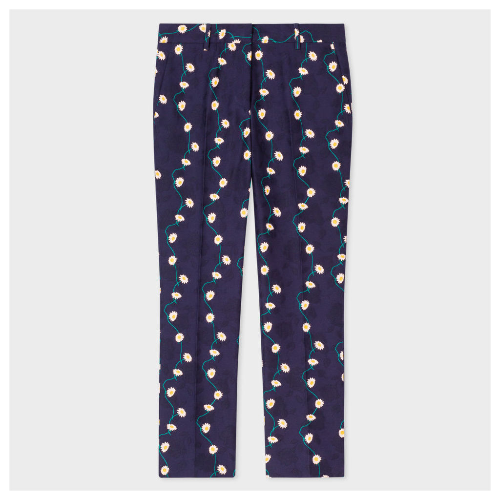 Women's Slim-Fit Navy Cotton Trousers With 'Daisy-Chain' Print