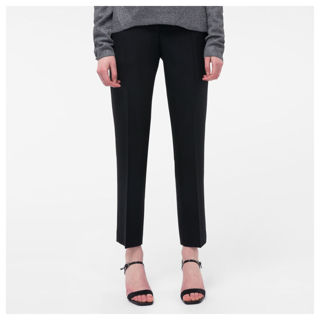 Women's Slim-Fit Black Wool Trousers
