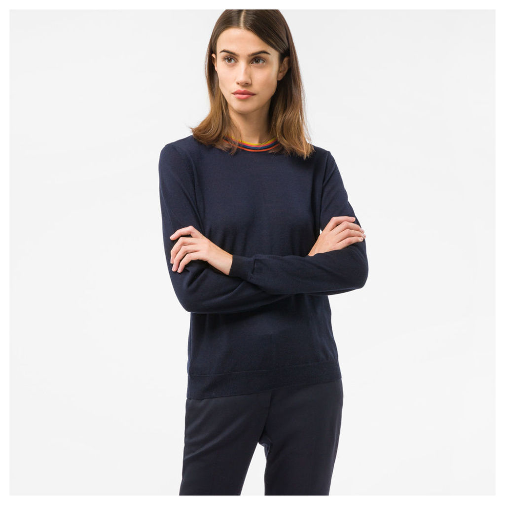 Women's Navy Wool Sweater With 'Artist Stripe' Collar