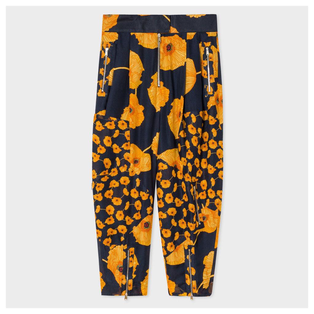 Women's Navy 'Poppy Chain' Sheer Silk Harem Trousers