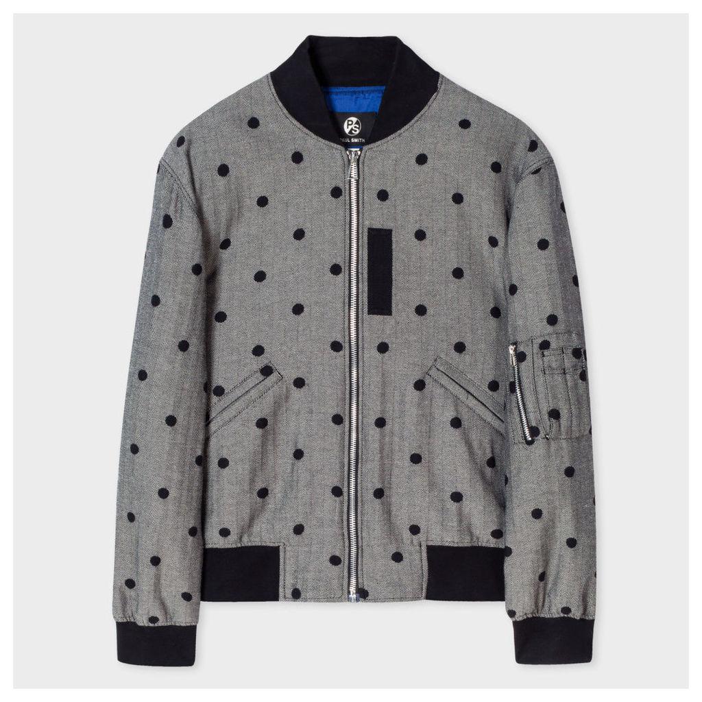 Women's Herringbone Bomber Jacket With Flocked Polka Dots