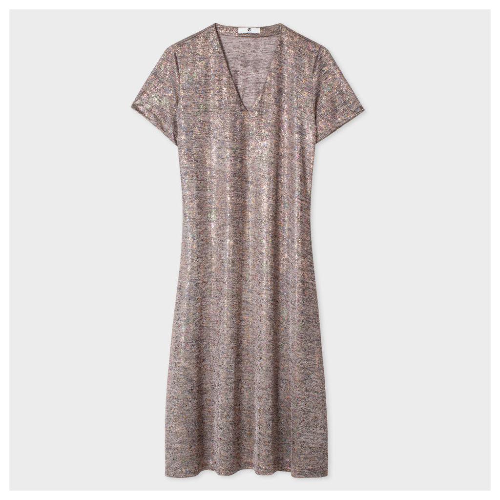 Women's Metallic-Detail Jersey-Dress