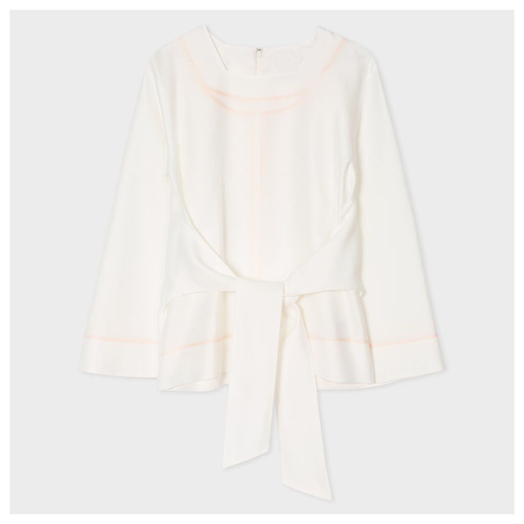 Women's White Cotton-Silk Bell Sleeve Top With Tie