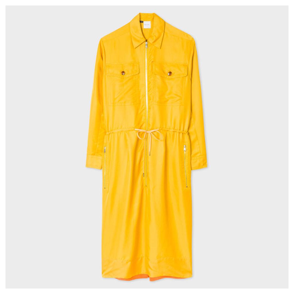 Women's Mustard Cupro Shirt-Dress With Zip Front