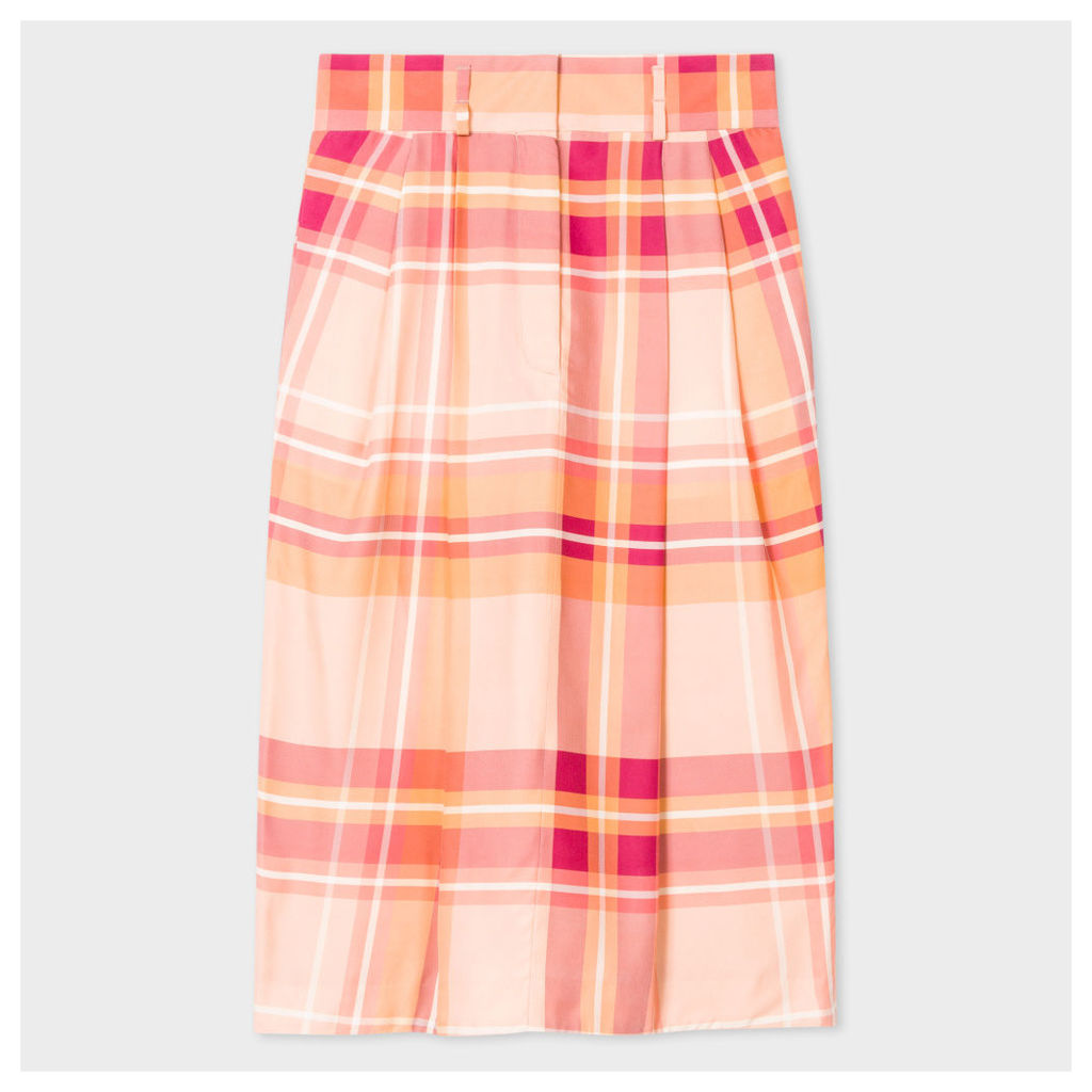 Women's Pink Large-Check Silk-Cupro Skirt