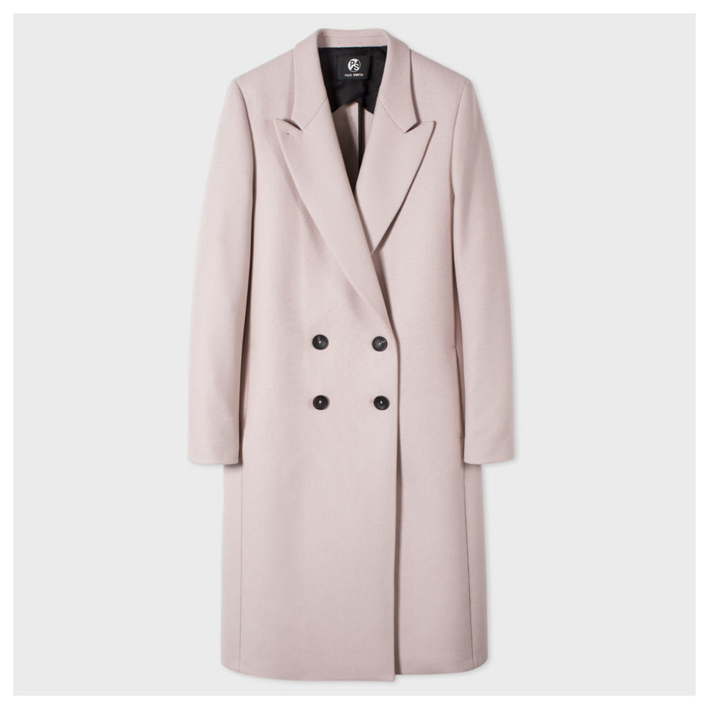 Women's Pale Pink Wool-Cashmere Double-Breasted Coat