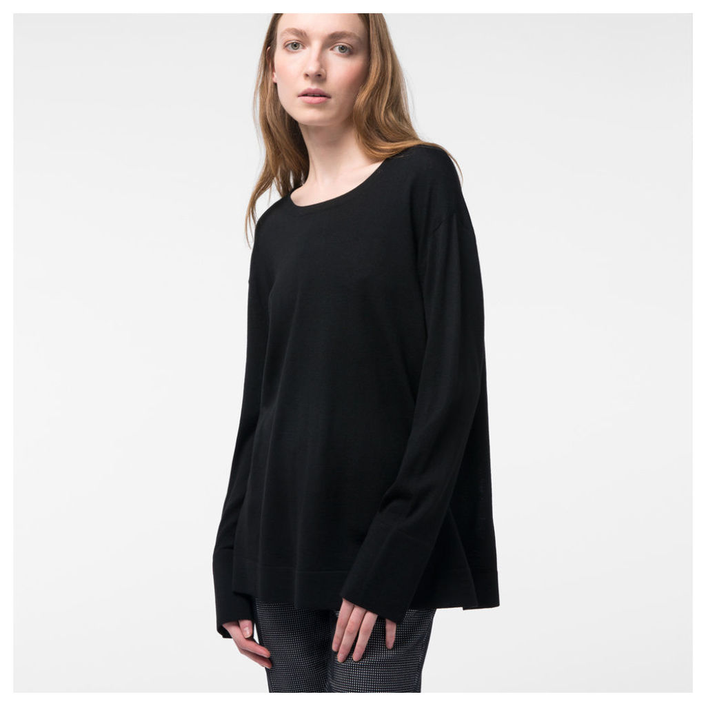 Women's Black Button-Back Merino Wool Sweater
