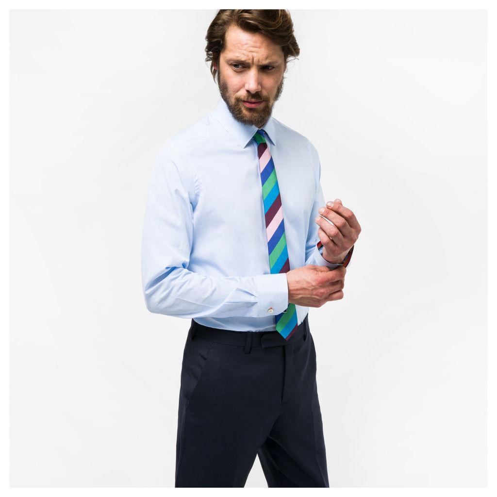Men's Tailored-Fit Sky Blue Cotton 'Artist Stripe' Cuff Shirt