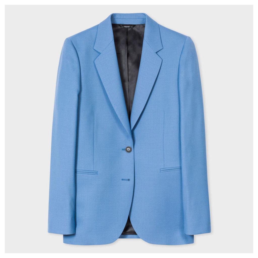 A Suit To Travel In - Women's Cornflower Blue Two-Button Wool Blazer