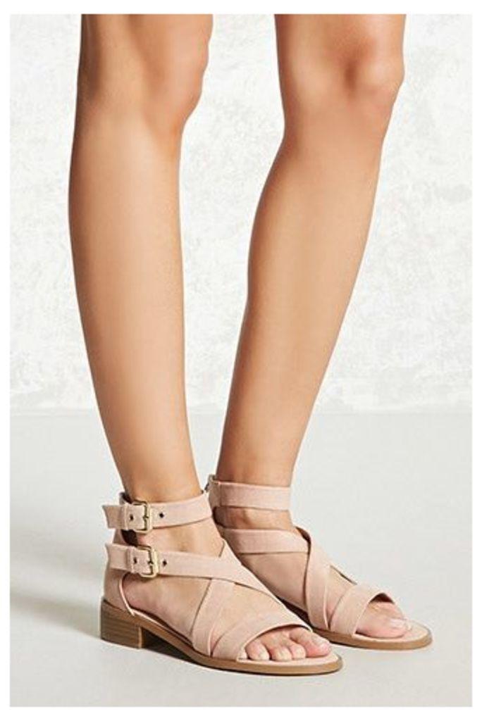 Faux Suede Buckle-Strap Sandals