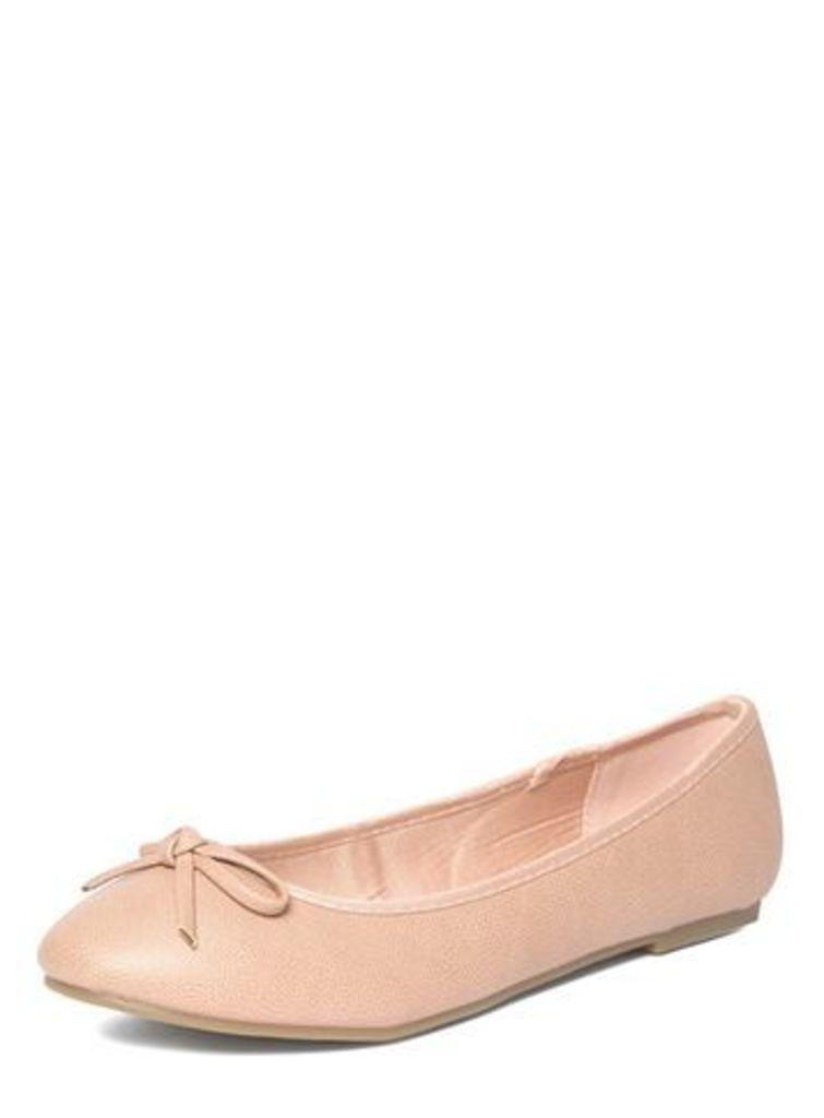 Pink Bow Ballerina Pumps, Pink