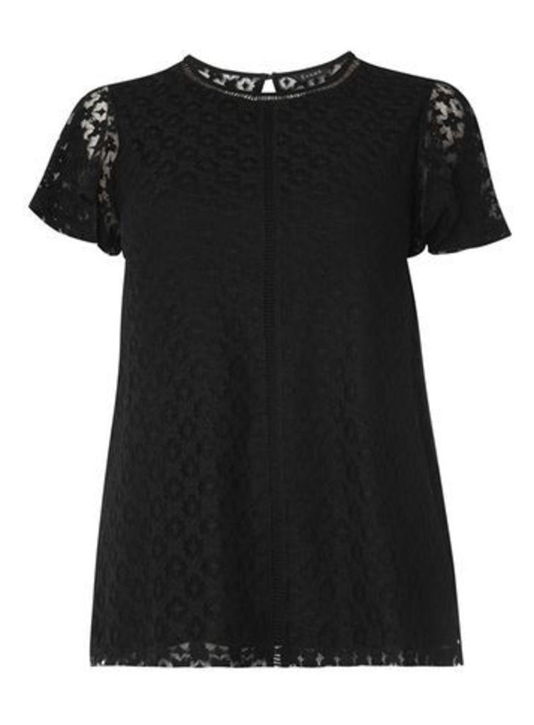 Black Lace Short Sleeve Top, Black