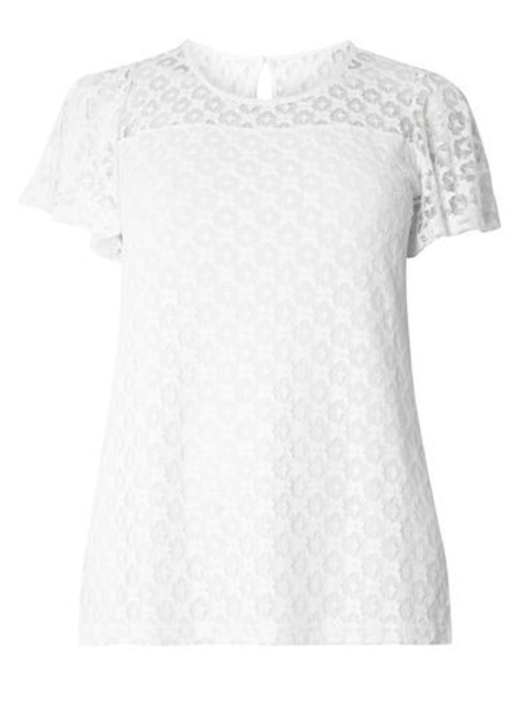 White Lace Short Sleeve Top, White