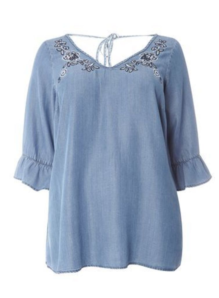Navy Blue Embroidered Tencel Gypsy Top, Navy