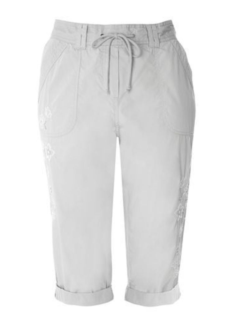 Grey Cotton Embroidered Crop Trousers, Grey