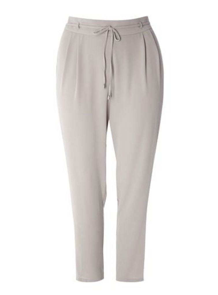 Grey Tie Front Tapered Trousers, Grey