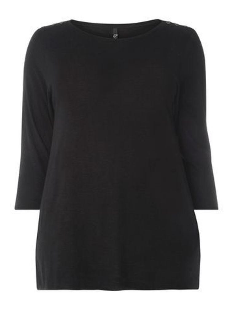 Black Top with Button Detail, Black