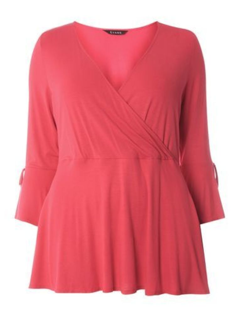 Pink Hourglass Wrap Top, Pink