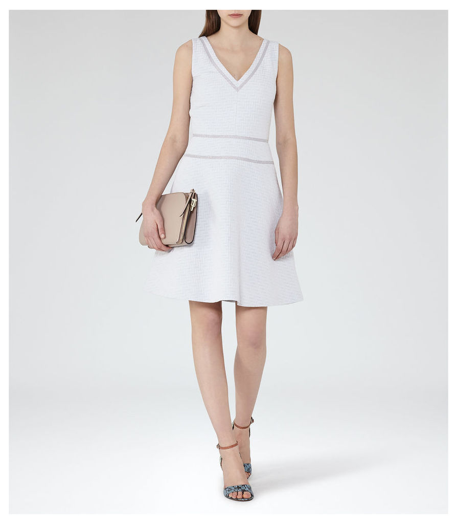 REISS Nelly - Womens Textured Fit And Flare Dress in Grey