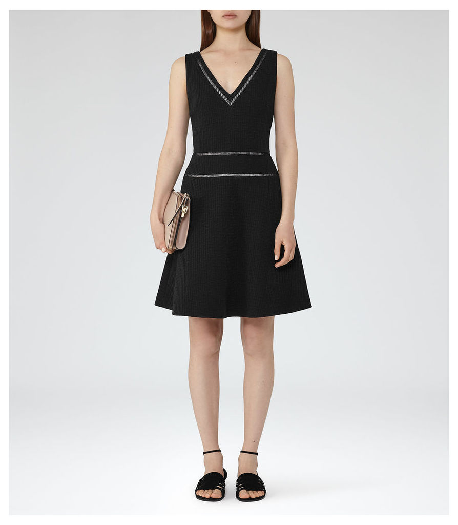 REISS Nelly - Womens Textured Fit And Flare Dress in Black