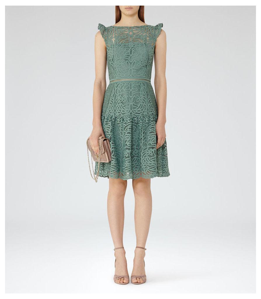 REISS Herrera - Womens Cap Sleeve Lace Dress in Green