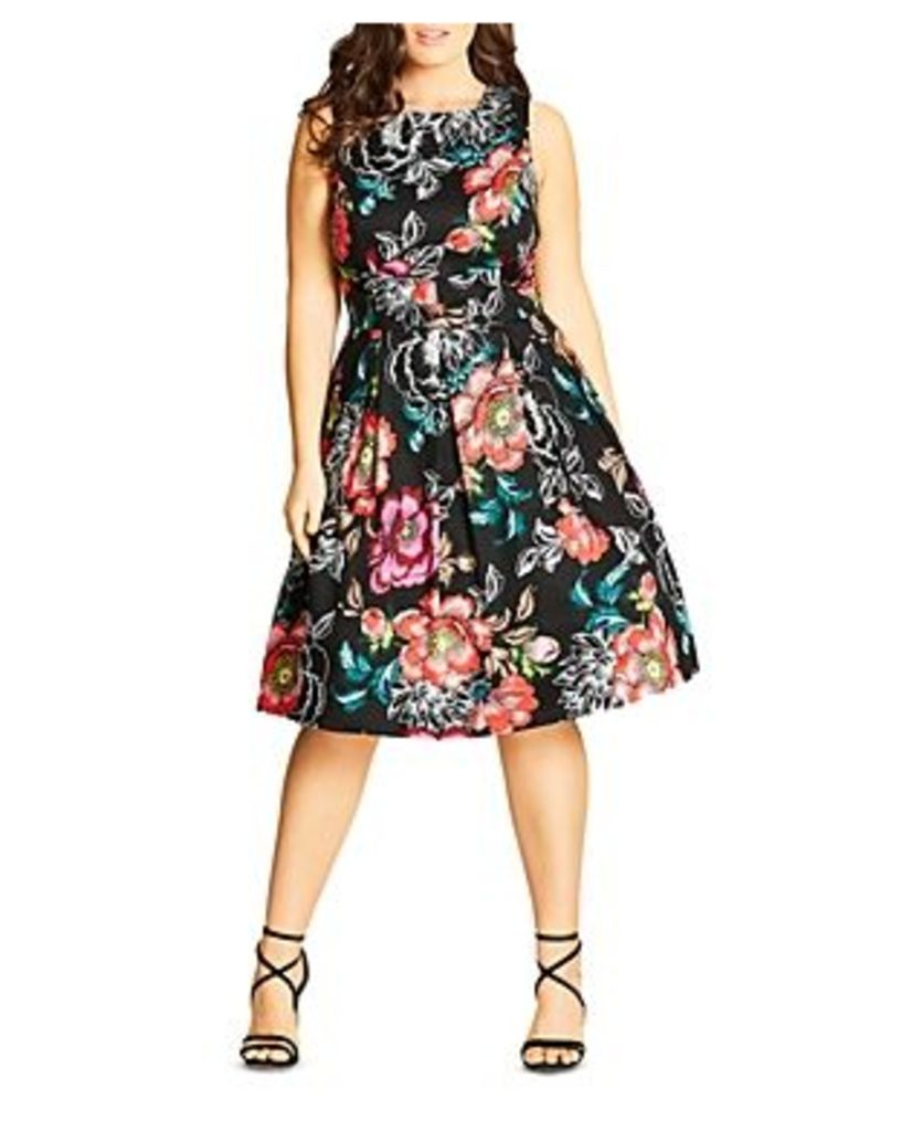 City Chic Mystery Flower Printed Dress