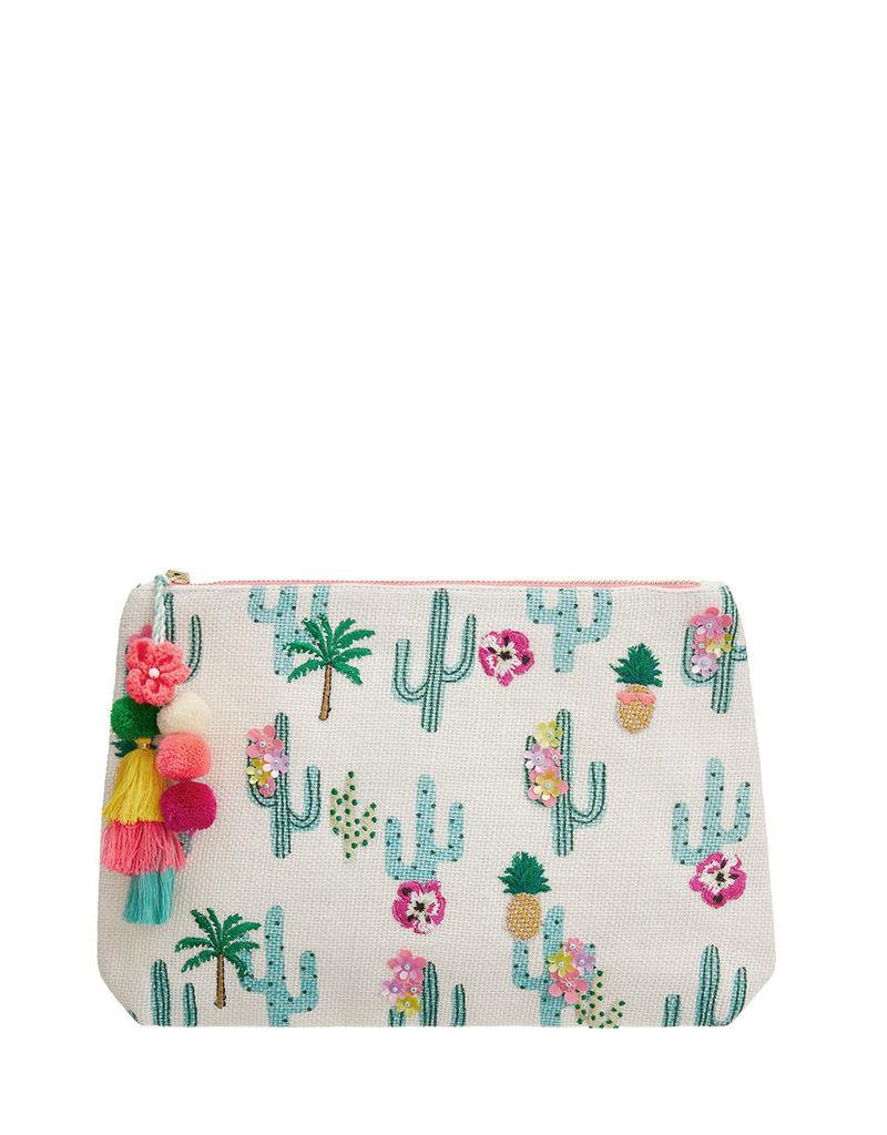 Tropical Cactus Embellished Washbag