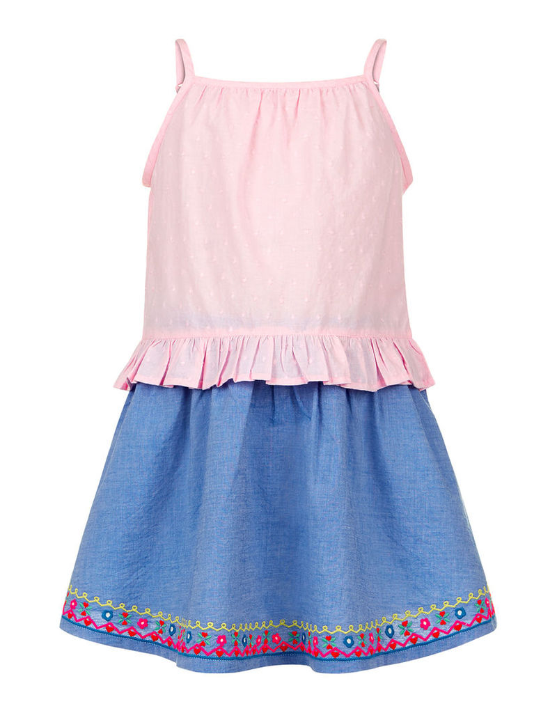 Chambray Embroidered Skirt & Top Set