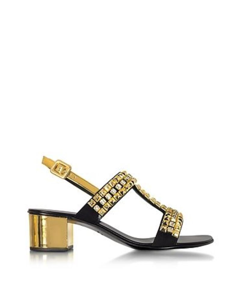 Giuseppe Zanotti - Debra Laminated Leather Mid Heel Sandals W/Crystals