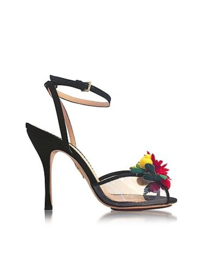 Charlotte Olympia - Tropicana Black Silk and PVC Sandal