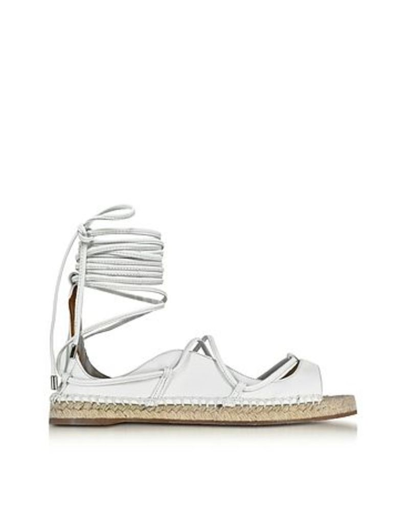 DSquared2 - Riri White Nappa Leather Lace-up Flat Espadrilles